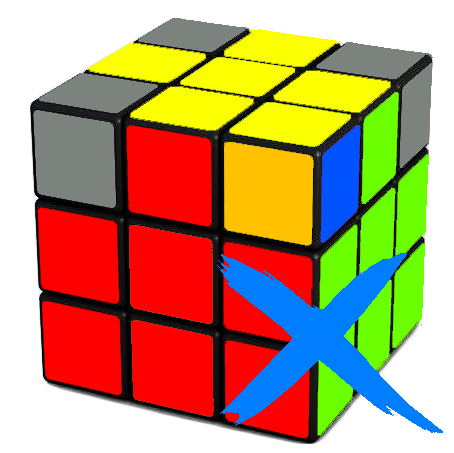 Incorrectly oriented corner on the Rubix Cube