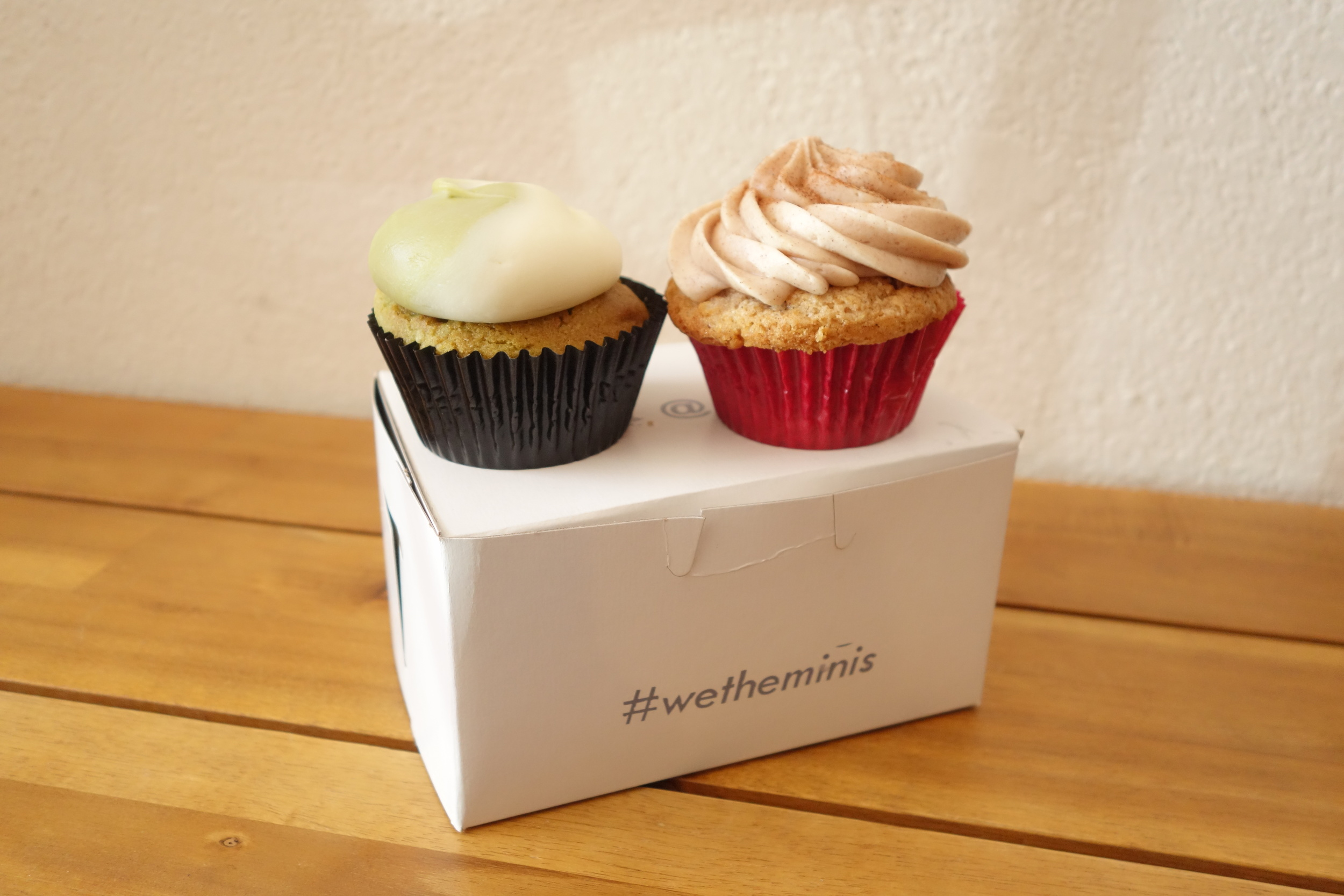 Cupcakes by We The Minis. Matcha Green Tea (Left) & Churro (Right).