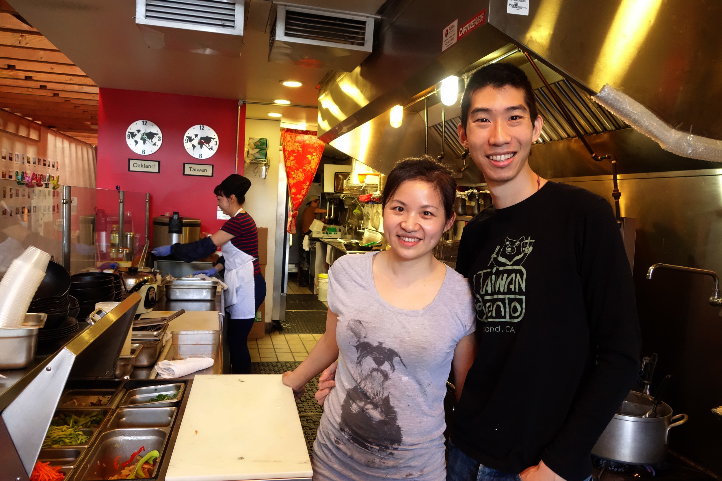Owners (Stacy Tang (Left) & WIlly Wang (Right) in the kitchen of Taiwan Bento.