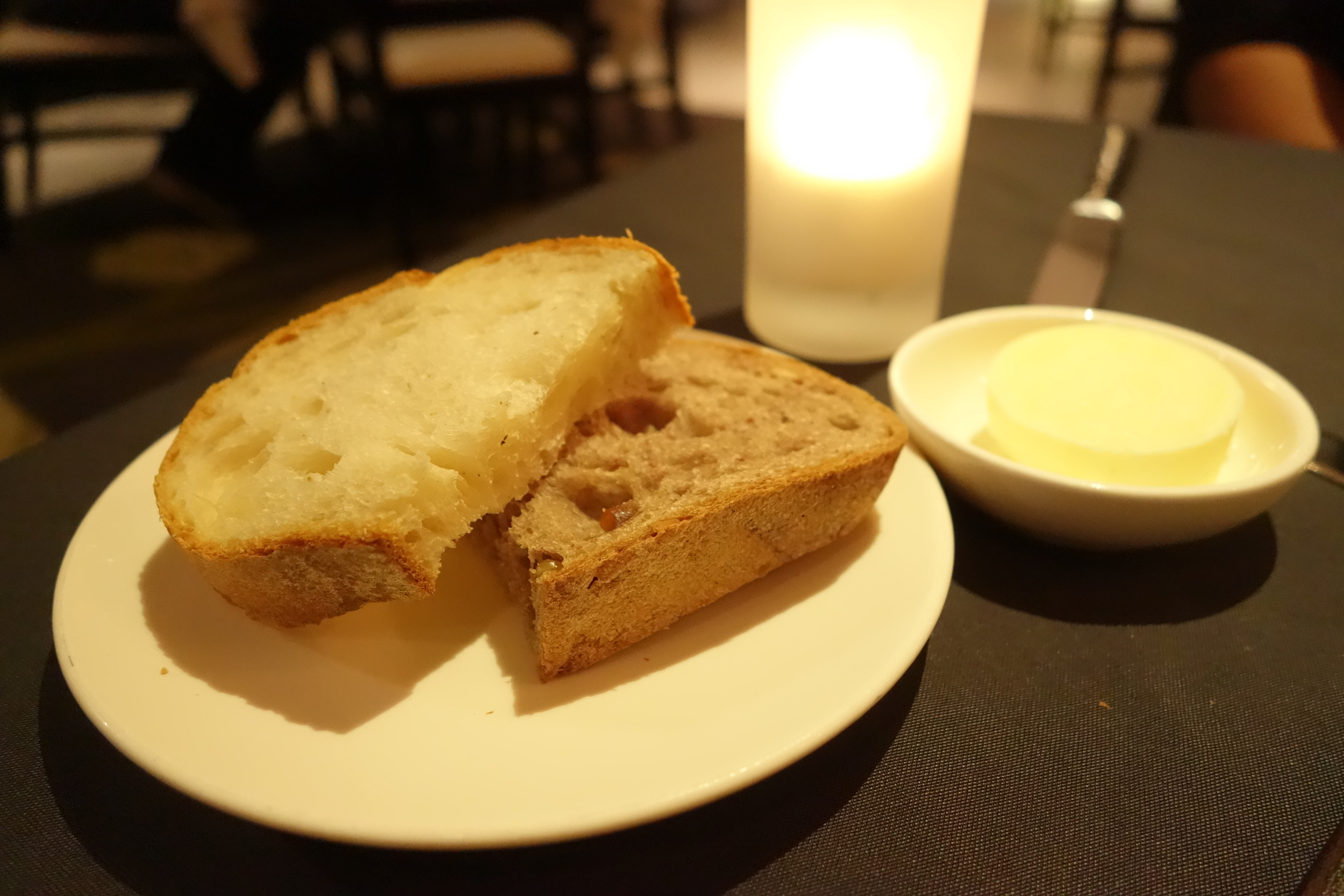 White Bread, Whole Wheat Grain Bread & Salted Butter at Anzu Restaurant and Bar.