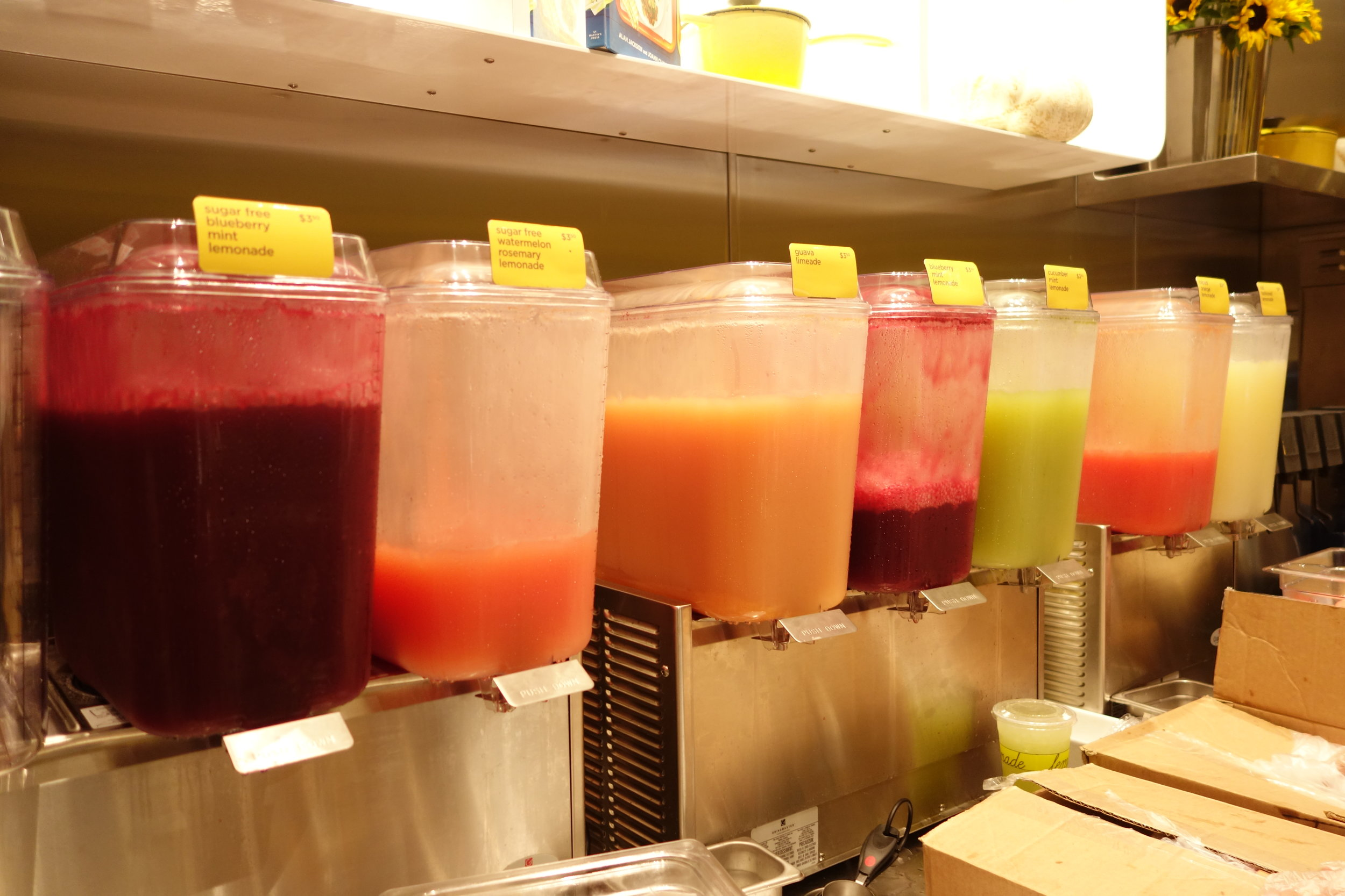 Variety of lemonades: Old Fashioned, Cucumber Mint, Blueberry Mint, Blood Orange, Watermelon Rosemary, Guava Limeade