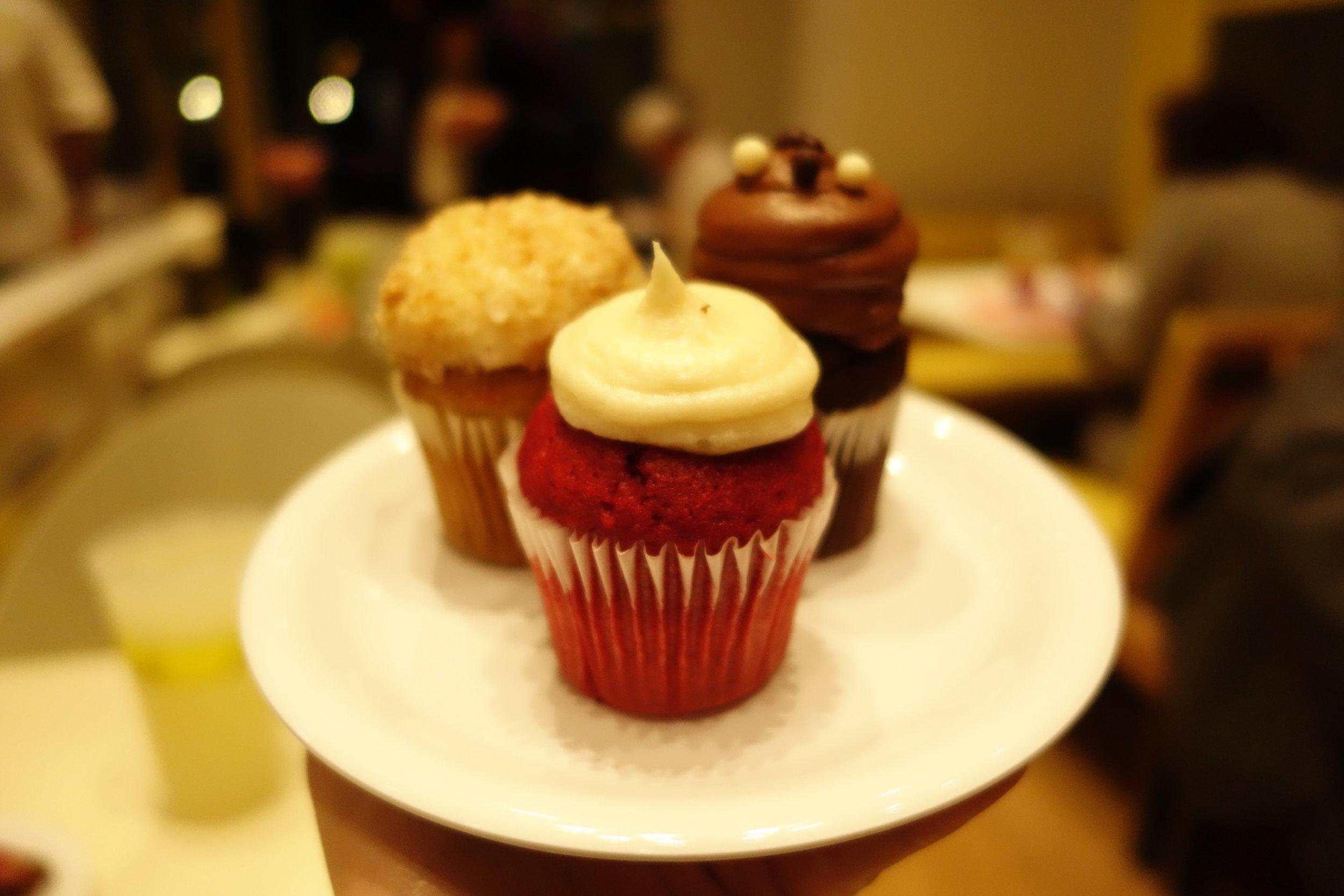 From front clockwise: Red Velvet, Carrot & Chocolate Buttercream