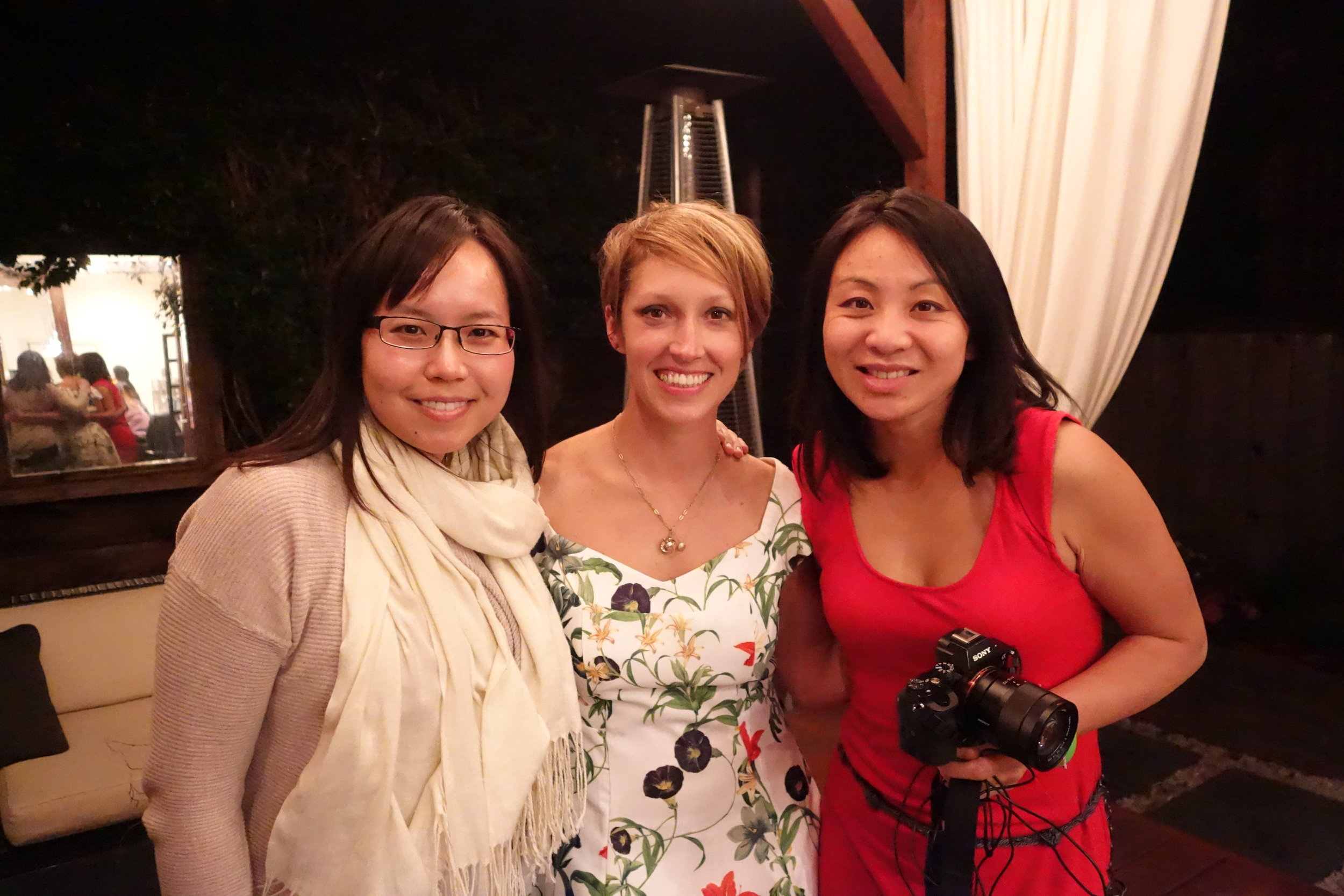 Sandy Leung (Left), Let's Eat Sonoma Founder Michelle Fitzgerald (Center), Mingjie Zhai (Right)