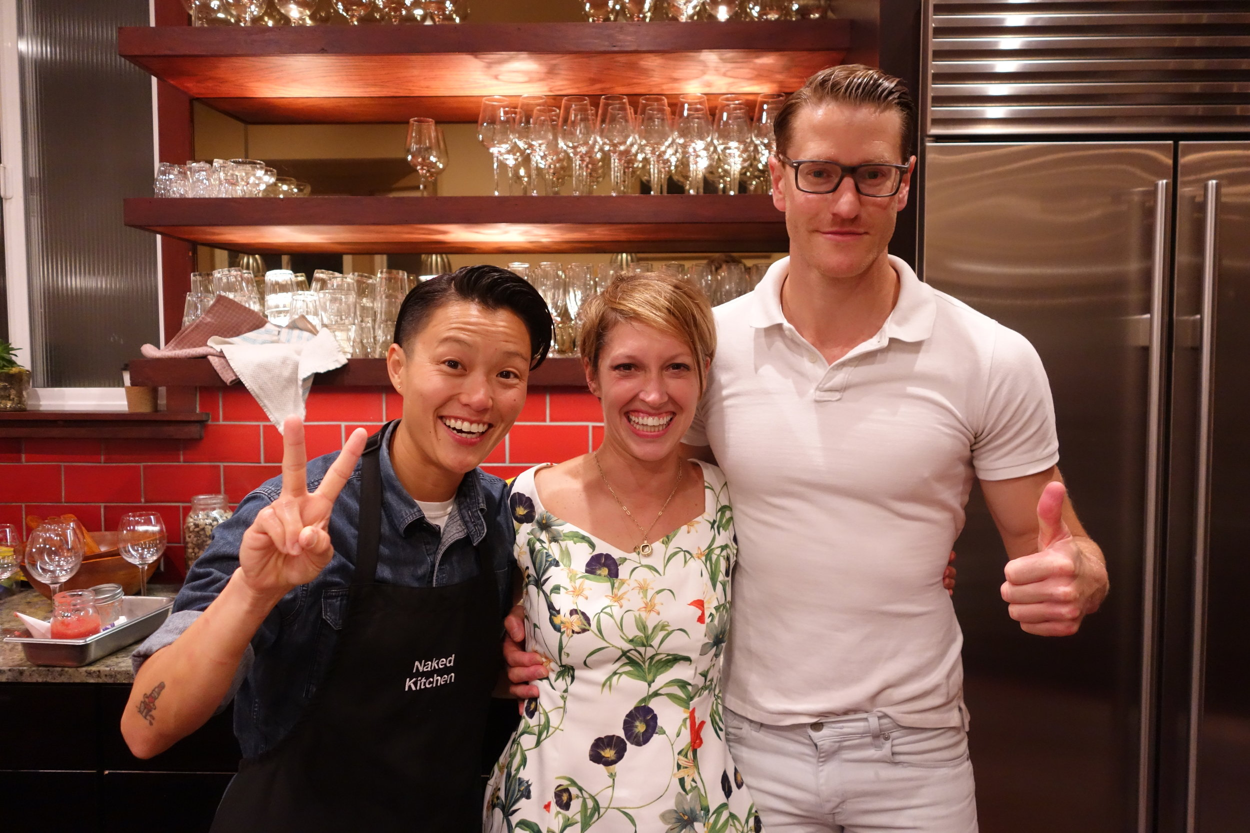 Let's Eat Sonoma Team with Founder Michelle Fitzgerald (Center), Keiko Takano (Left) & David Miskie (Right)