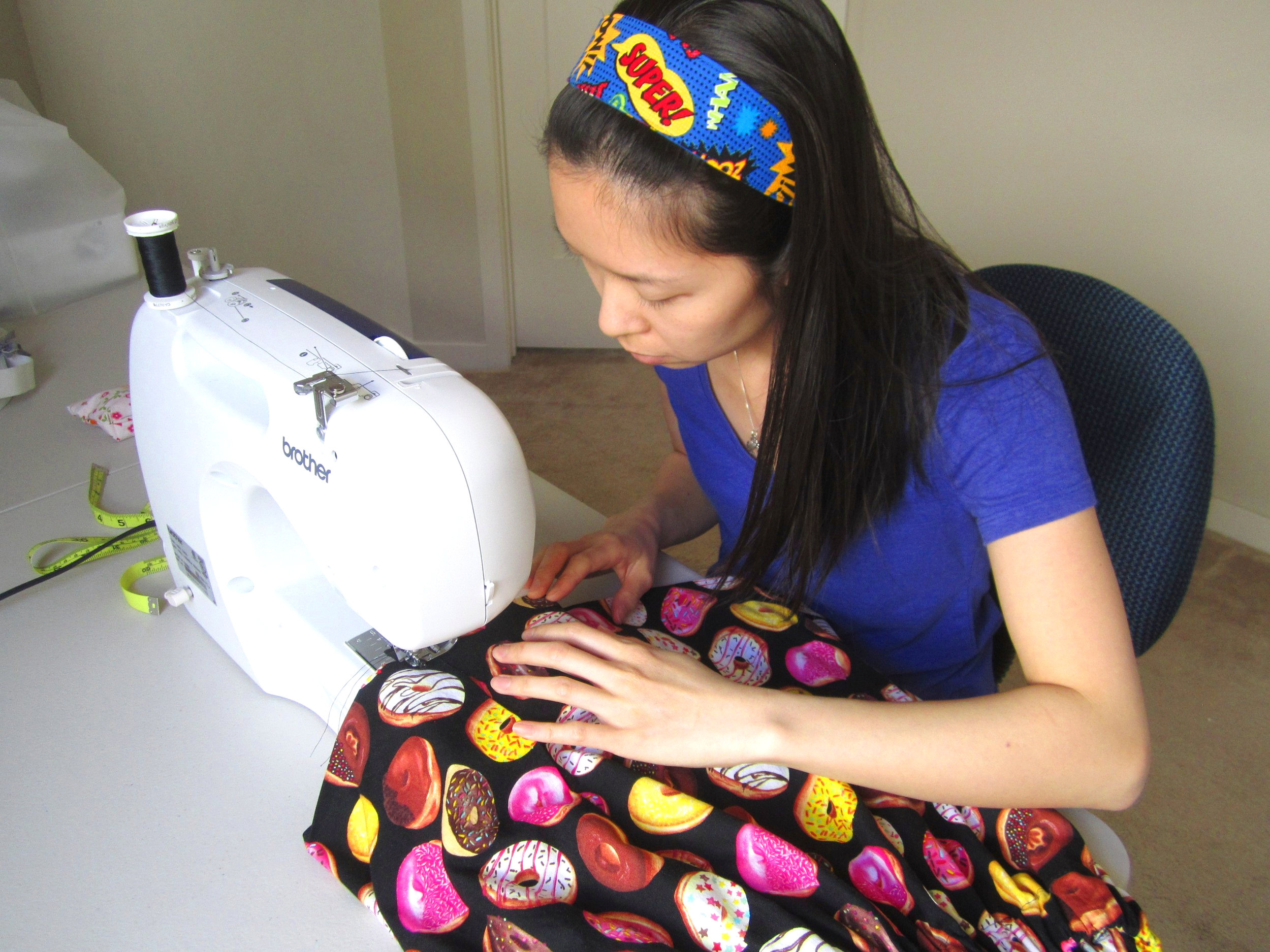 Carmen Cheung working on the Donut Skirt at her Sacramento office (Wearing the Geeky Headband)