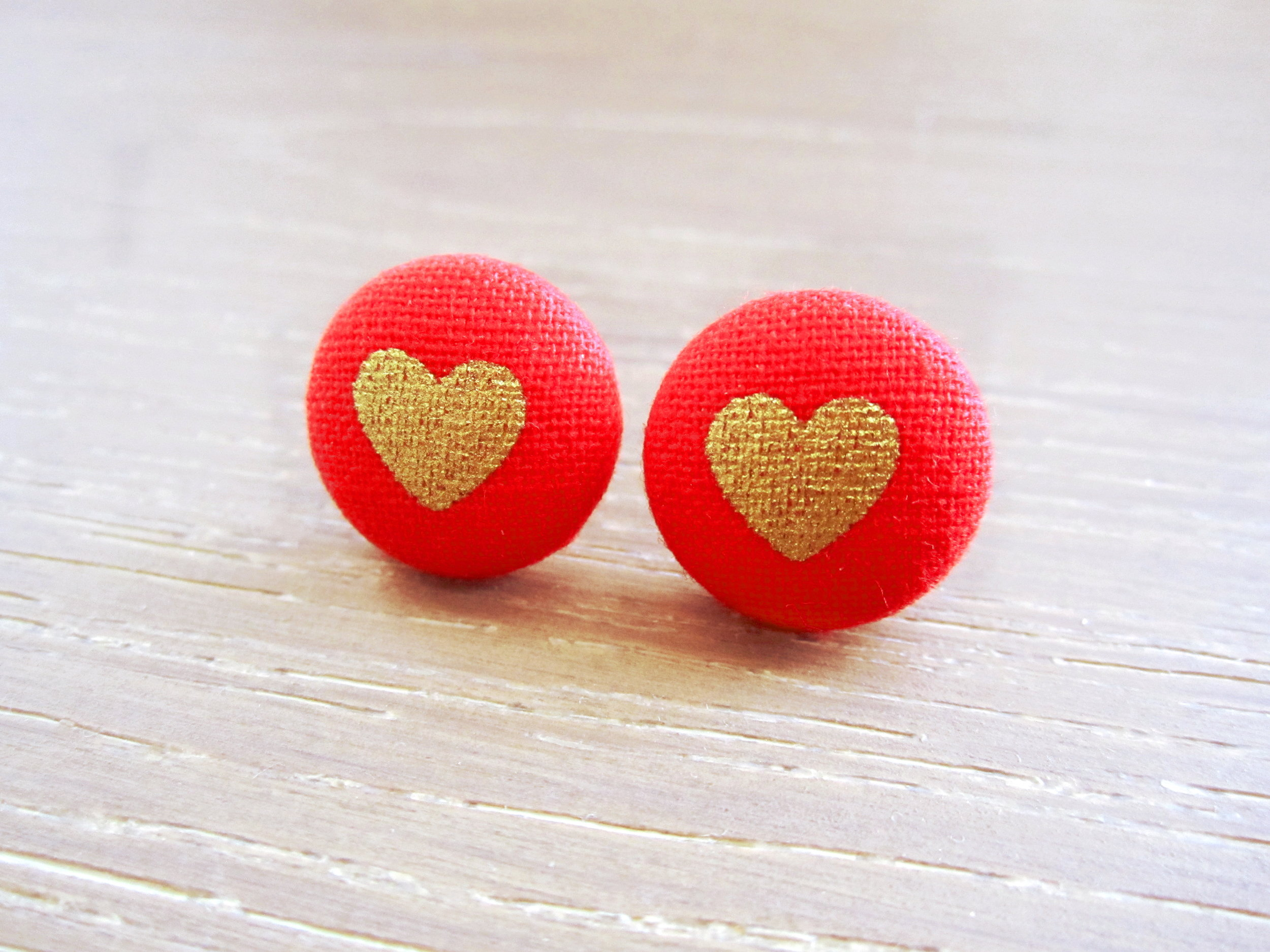 Red & Gold Heart Button Earrings