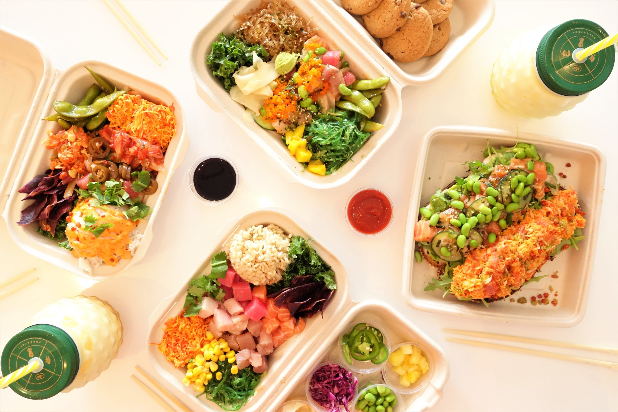 Poke Boxes, Pokecado Toasts & Dole Whip Floats. Pokeatery in Walnut Creek, California.