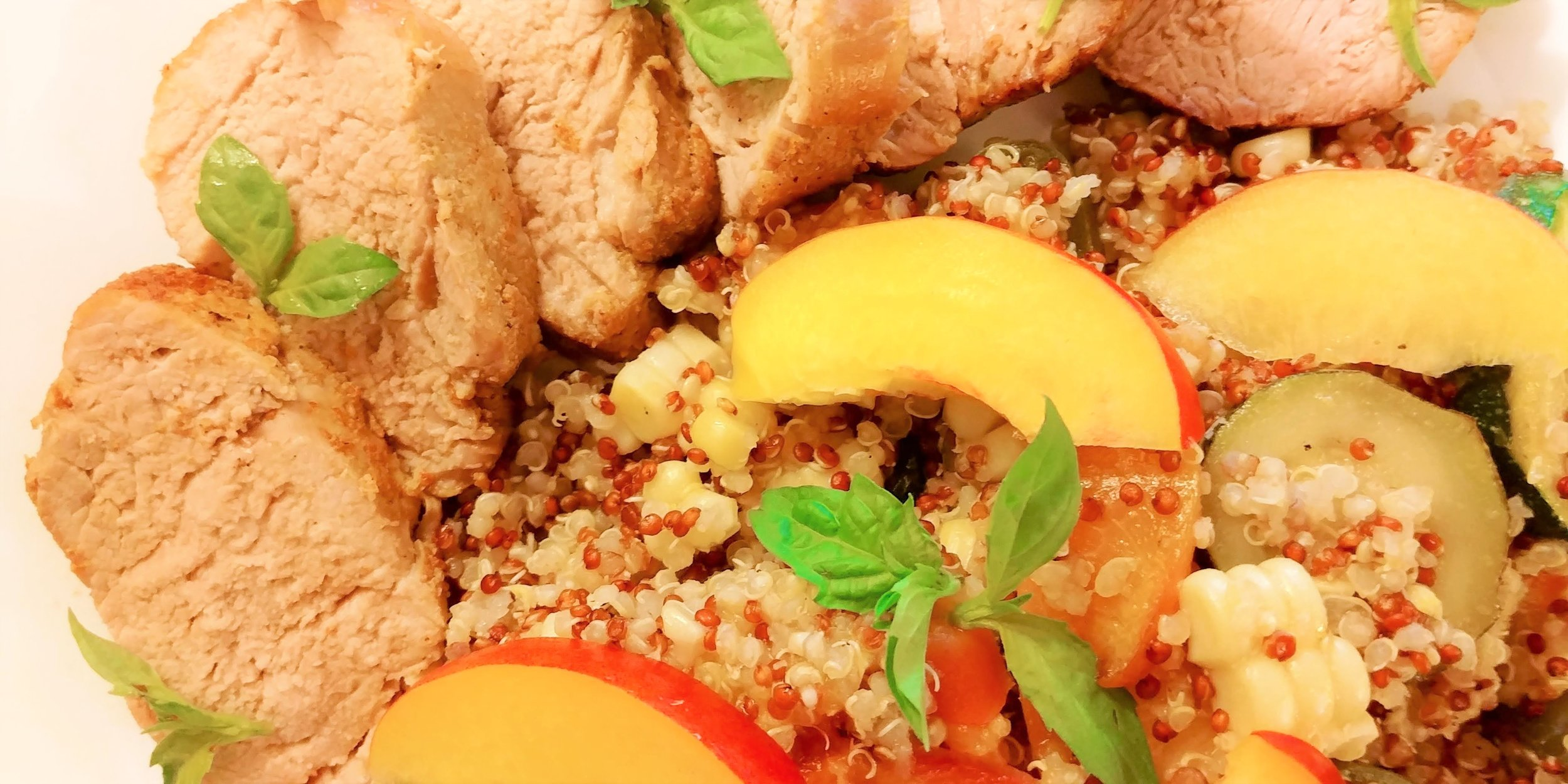 Ends+Stems Recipe: Pork Tenderloin with Nectarines, Basil & Jalapeno Quinoa