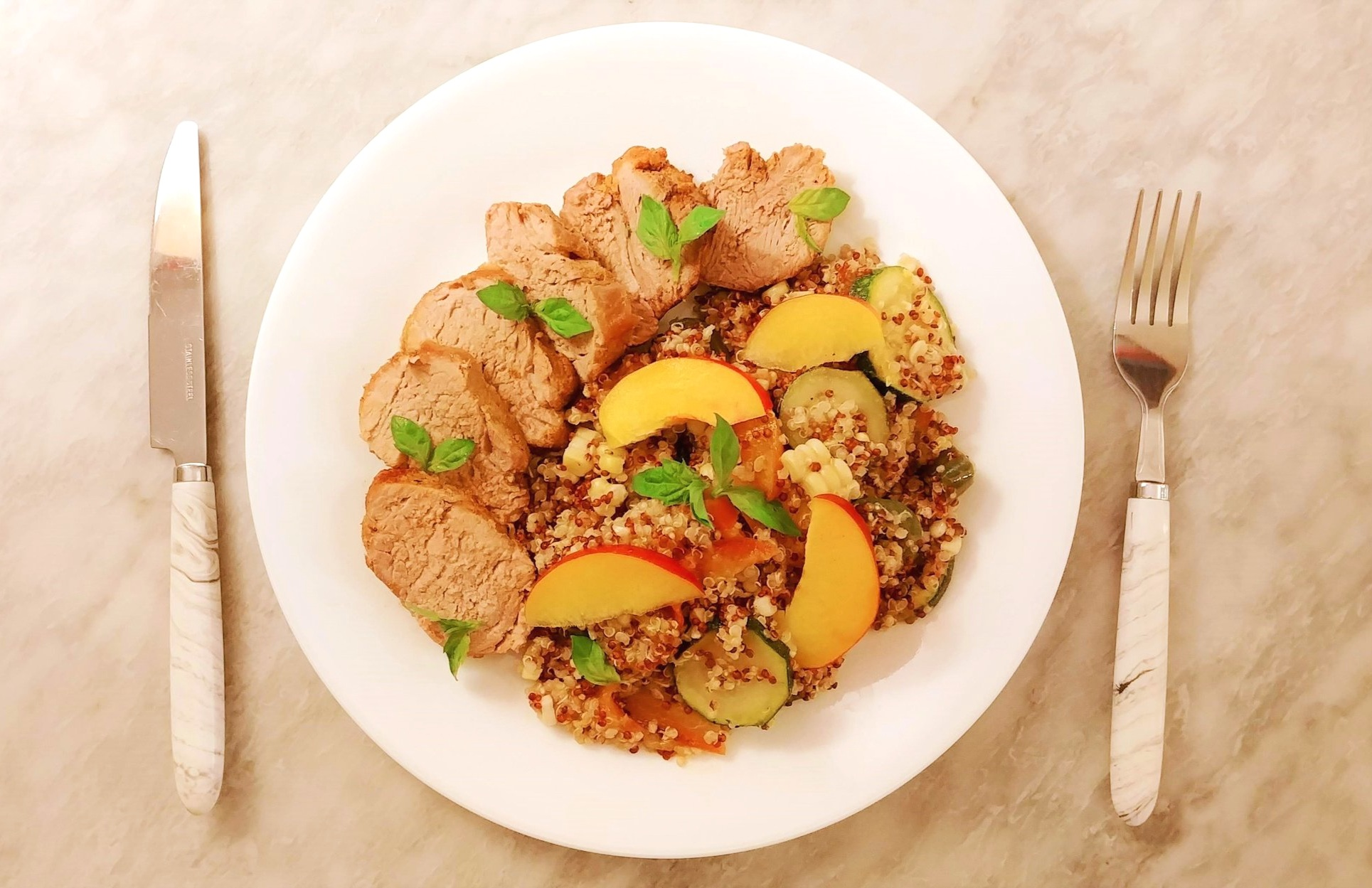 Pork Tenderloin with Peach, Basil & Jalapeno Quinoa. Recipe by Alison Mountford for the Ends+Stems web-app. Photography by Sandy Daenerys.