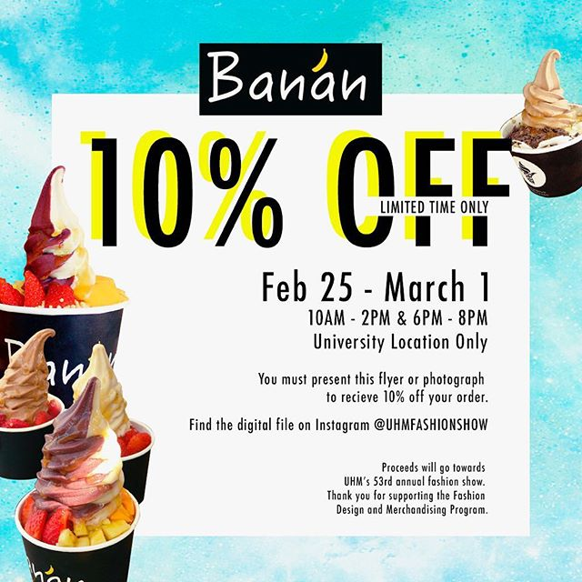 Head to our @banan fundraiser today through Friday! All you have to do is show this photo at point of purchase!🍌💕🍓