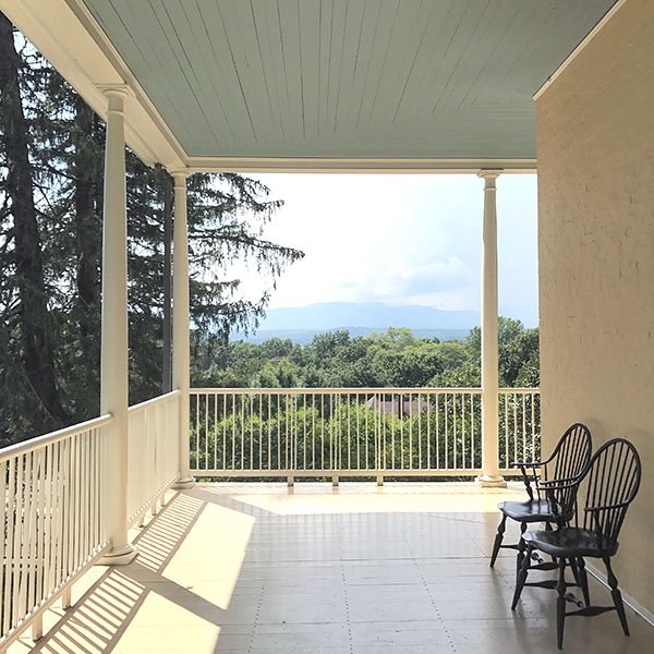 The porch at Cedar Grove | Thomas Cole Site in Catskill, New York – a viewing portal to the mountains and Hudson River