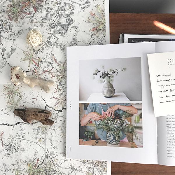 Wabi-Sabi Welcome by Julie Pointer Adams on my office / studio worktable