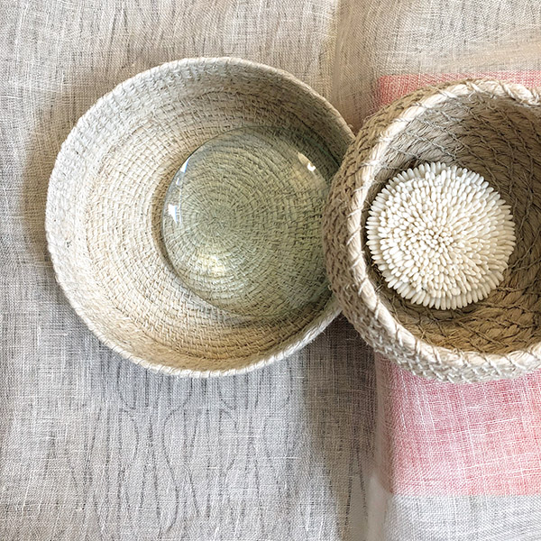 Artisan-made  chaguar  baskets by   NURAXI  nestled in my NYC workspace