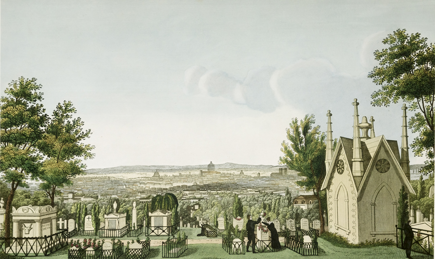 View of Pere-Lachaise Cemetery from the Greffulhe Chapel, engraved by Guiguet, Bibliotheque des Arts Decoratifs