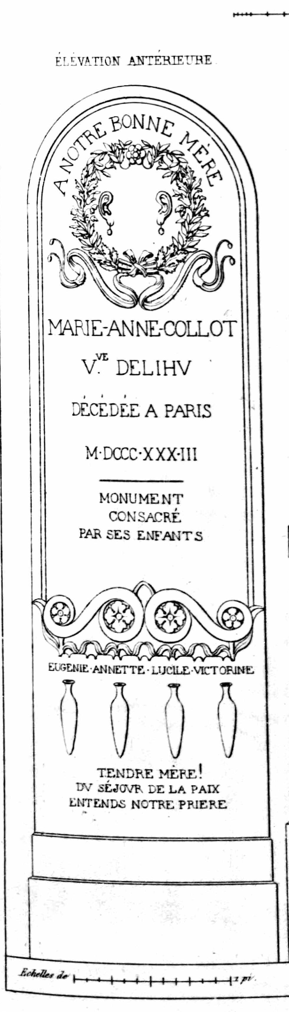 Monuments funéraires choisis dans les cimetières de Paris et des principales villes de France,  2nd part, 1863, by L. Normand ainé plate 14