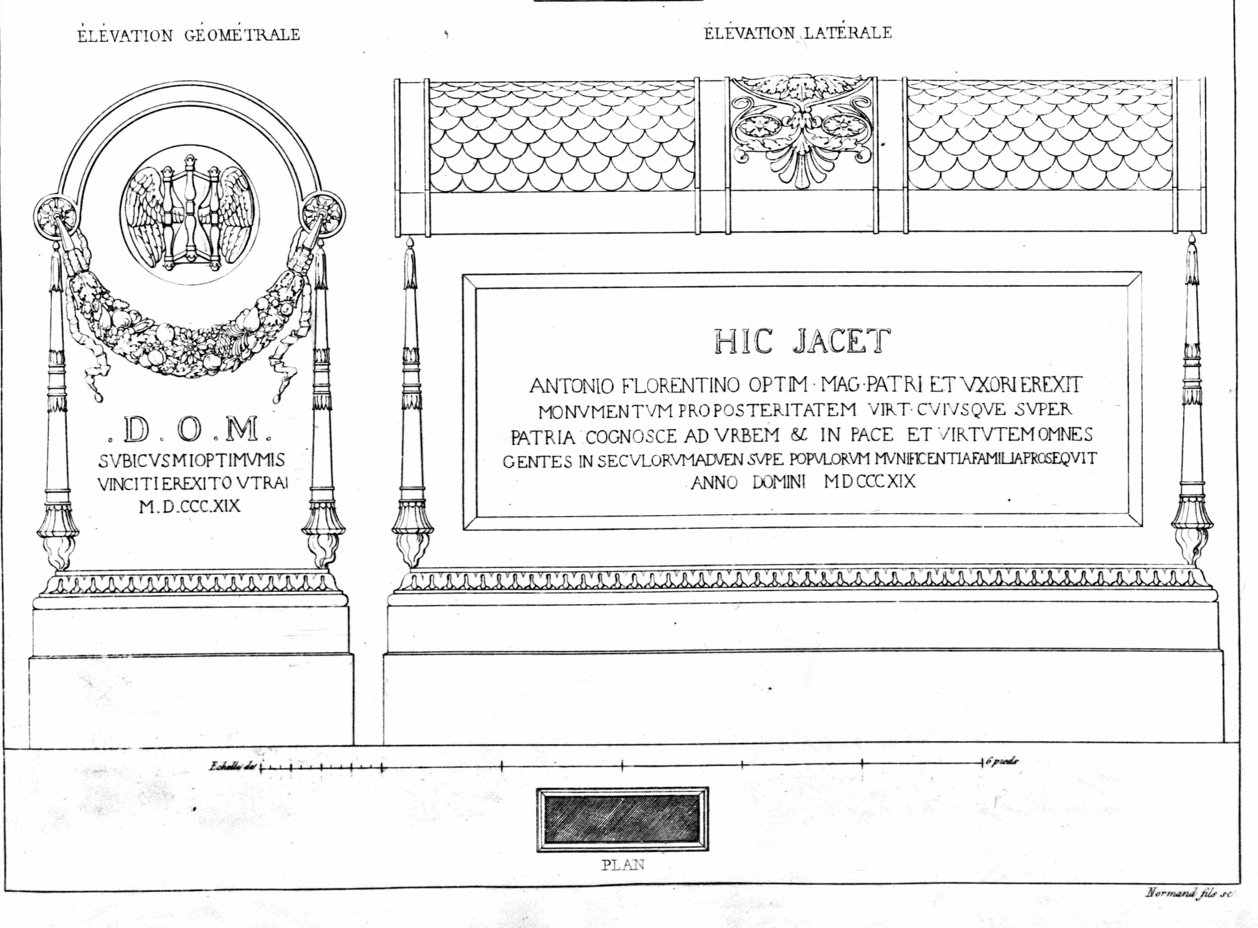 Monuments funéraires choisis dans les cimetières de Paris et des principales villes de France,  2nd part, 1863, by L. Normand ainé plate 17