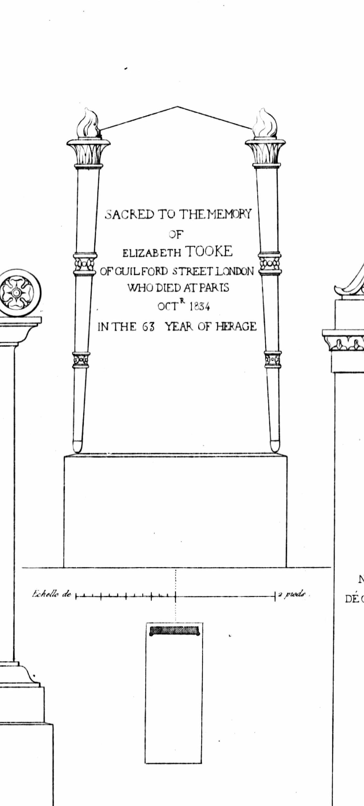 Elizabeth Tooke (1771-1834)  Monuments funéraires choisis dans les cimetières de Paris et des principales villes de France,  2nd part, 1863, by L. Normand ainé plate 19