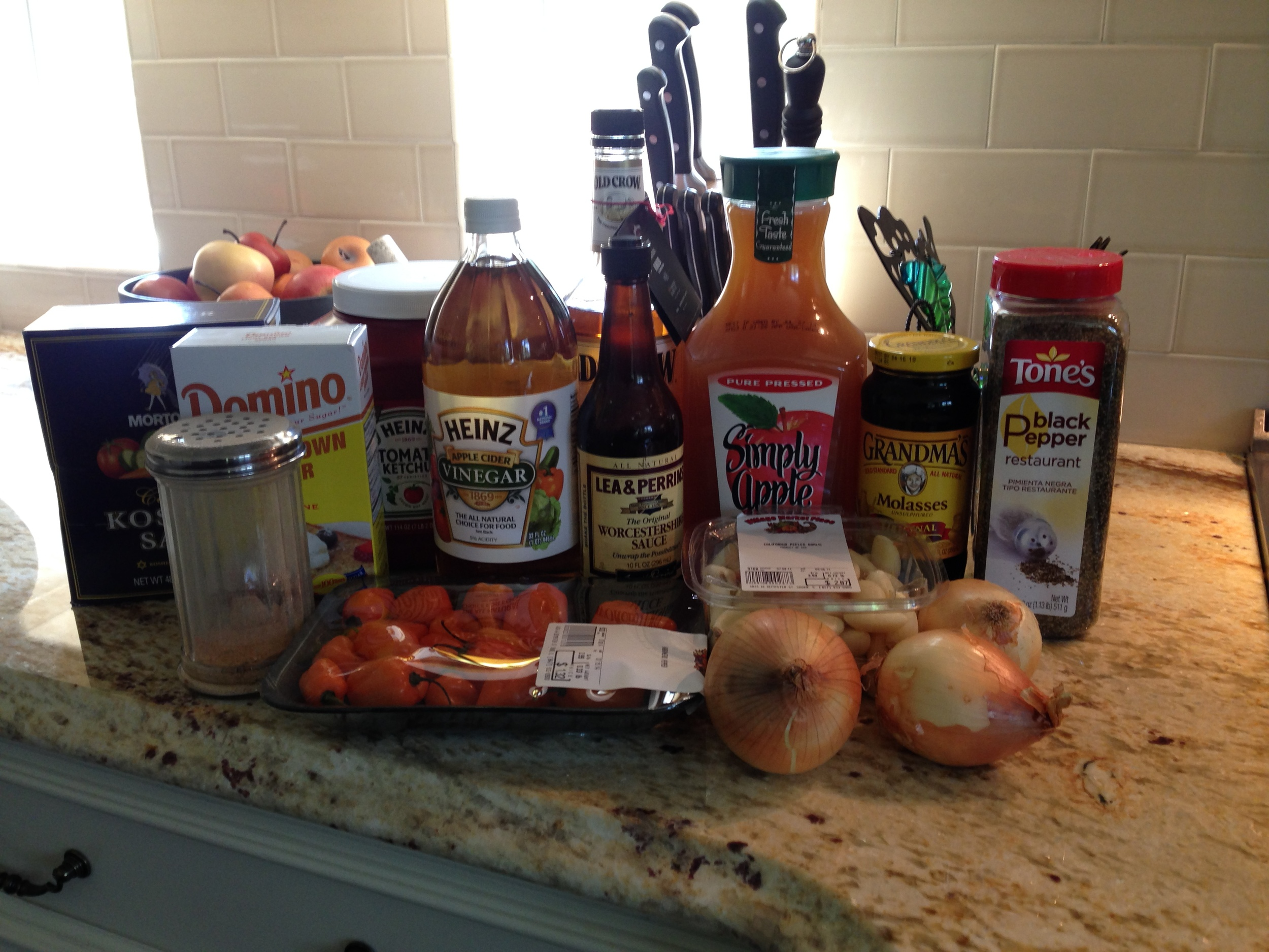 here are the ingredients that i use for my BBQ Sauce. IN the photo I am using ketchup as my tomato base.  sometimes i use ketchup and other  times i use tomato sauce..