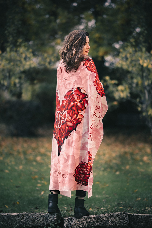 LOVE wool twill custom print scarf