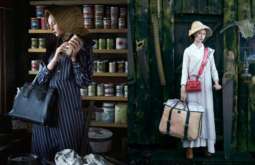 Schön magazine | Westworld  Dress / Mulberry Bag / Giorgio Armani Opposite Shirt / Stella McCartney Dress / Forte Forte Bag (Small) / Trussardi Bag (Big) / Hugo Matha Scarf / Si Je Veux Clogs / Vivienne Westwood