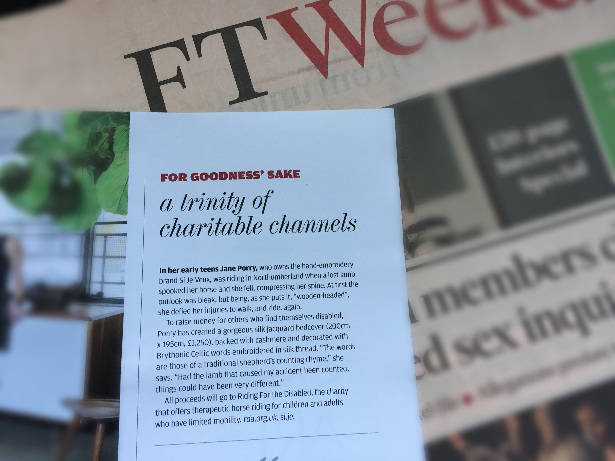 As seen in the FT - How to Spend It 21st October 2017