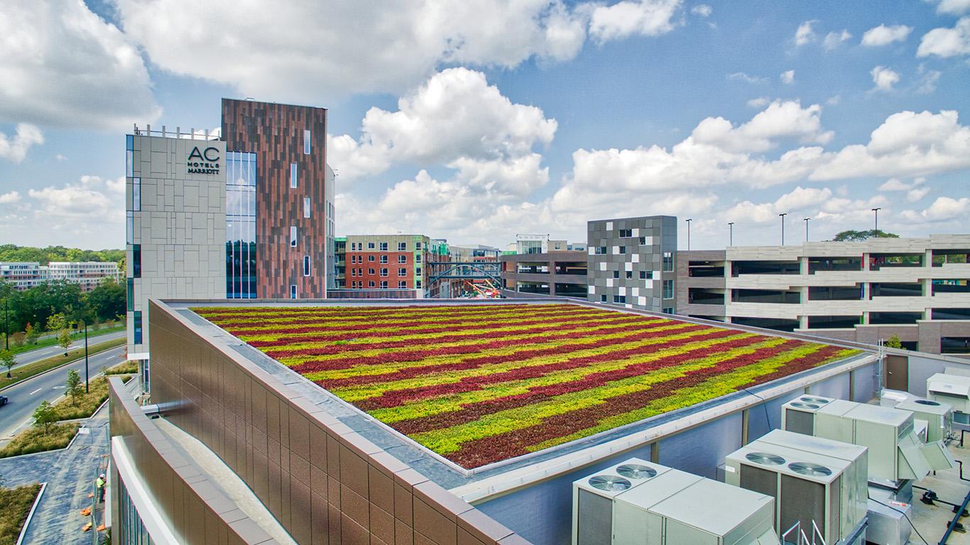 Garden rooftop on Bridge Park Ave in Dublin Ohio