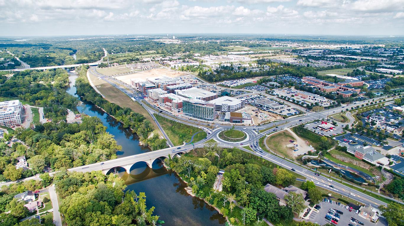 Aerial view of Bridge Park Ave in Dublin Ohio