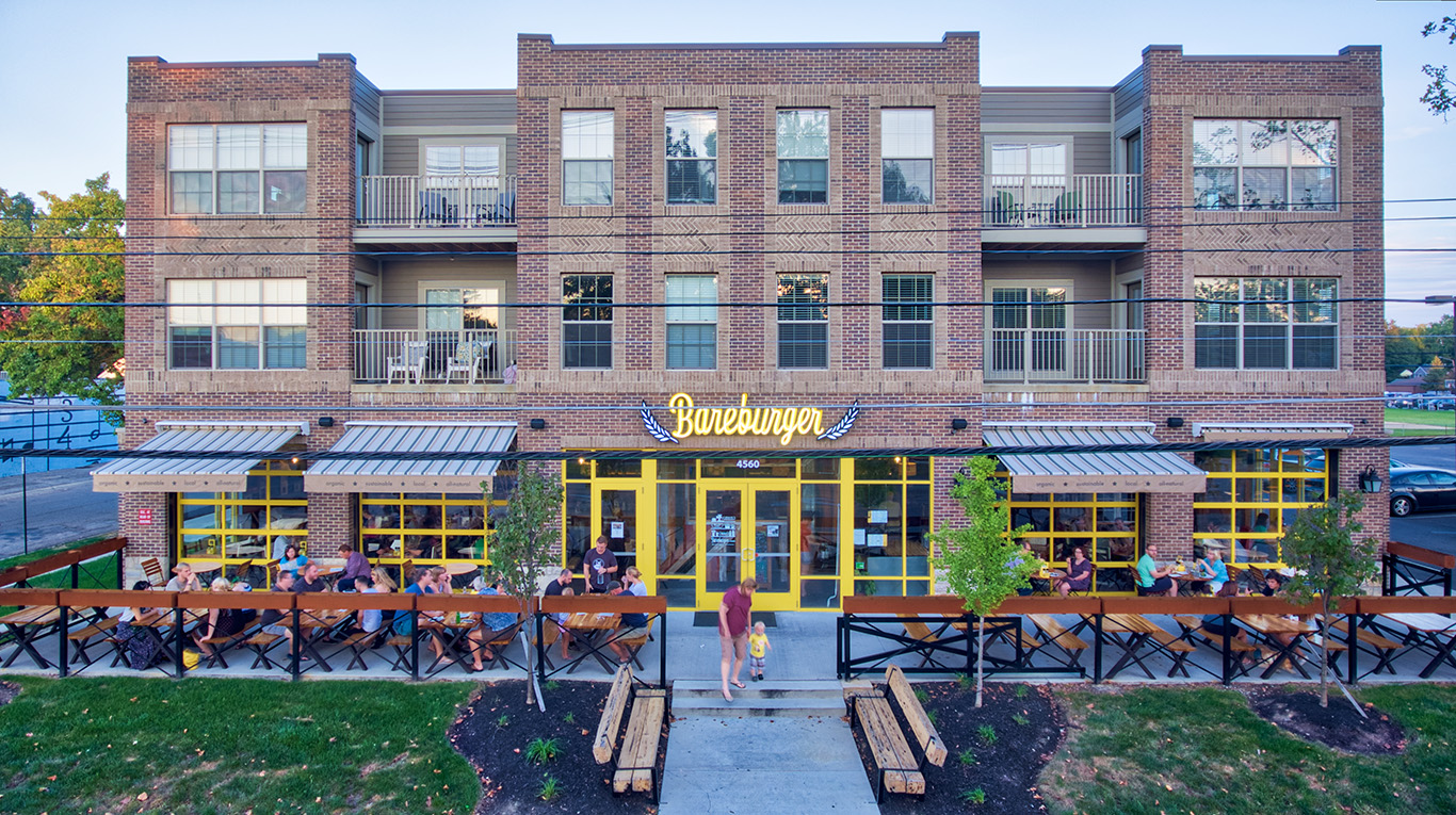 Storefront of Bareburger restaurant in Columbus Ohio