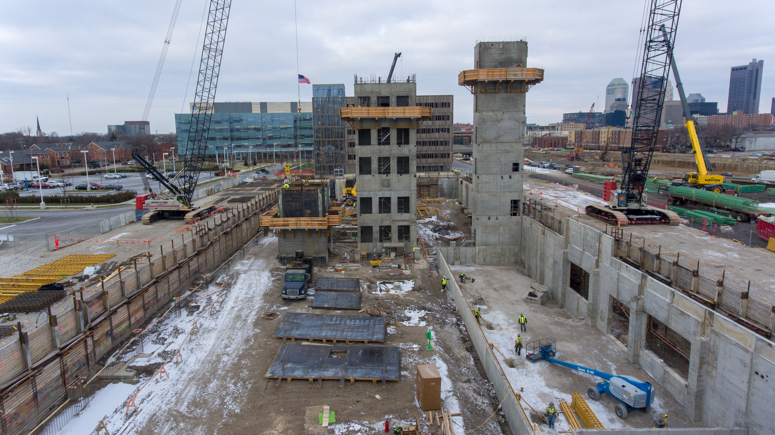 construction site with two large cranes