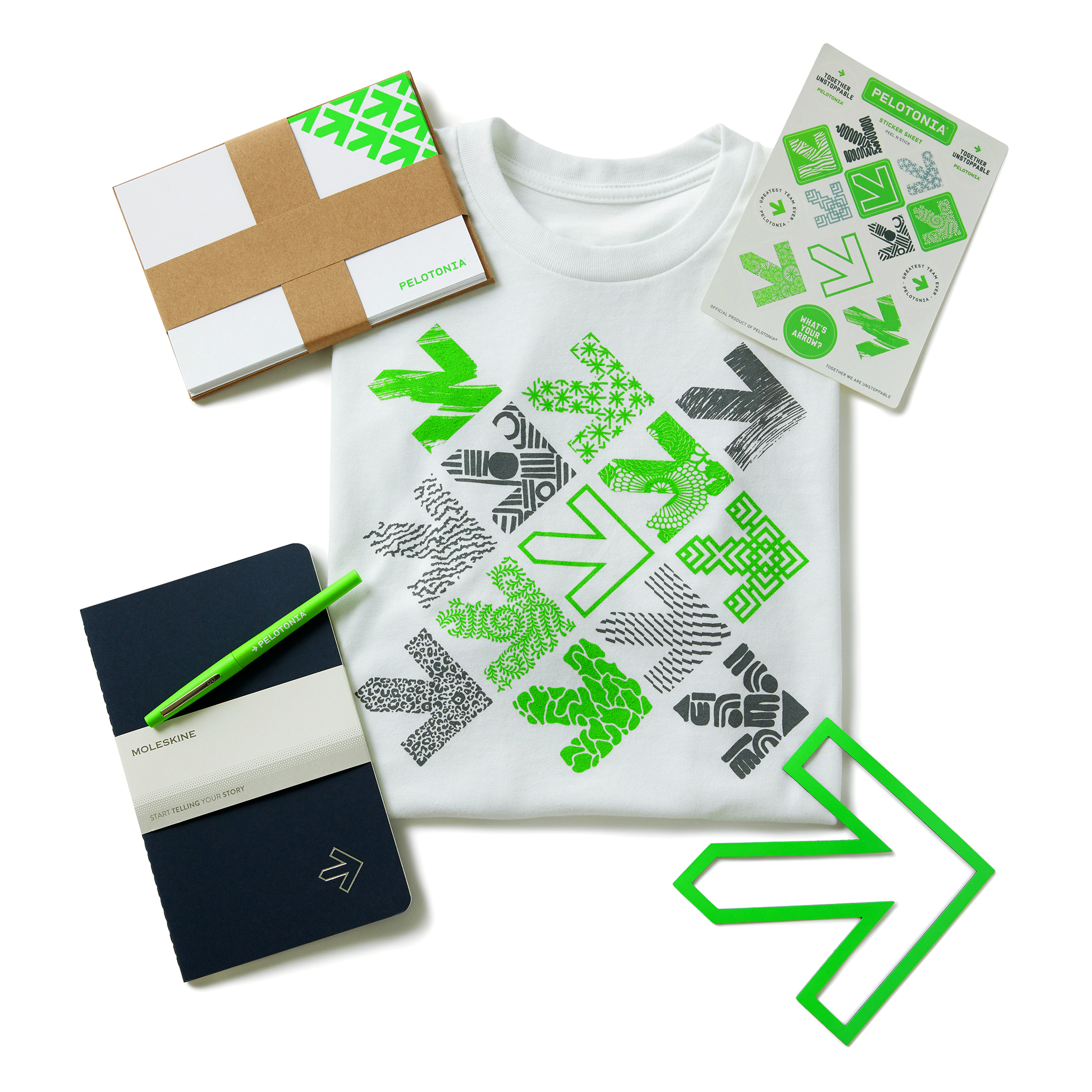 retouched product laydown of 2019 Pelotonia Launch Pack Set on white background.