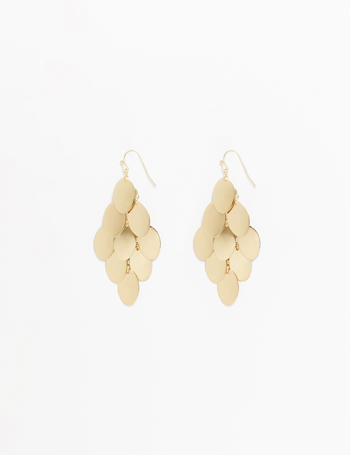 retouched set of gold disk chandelier earrings on white background