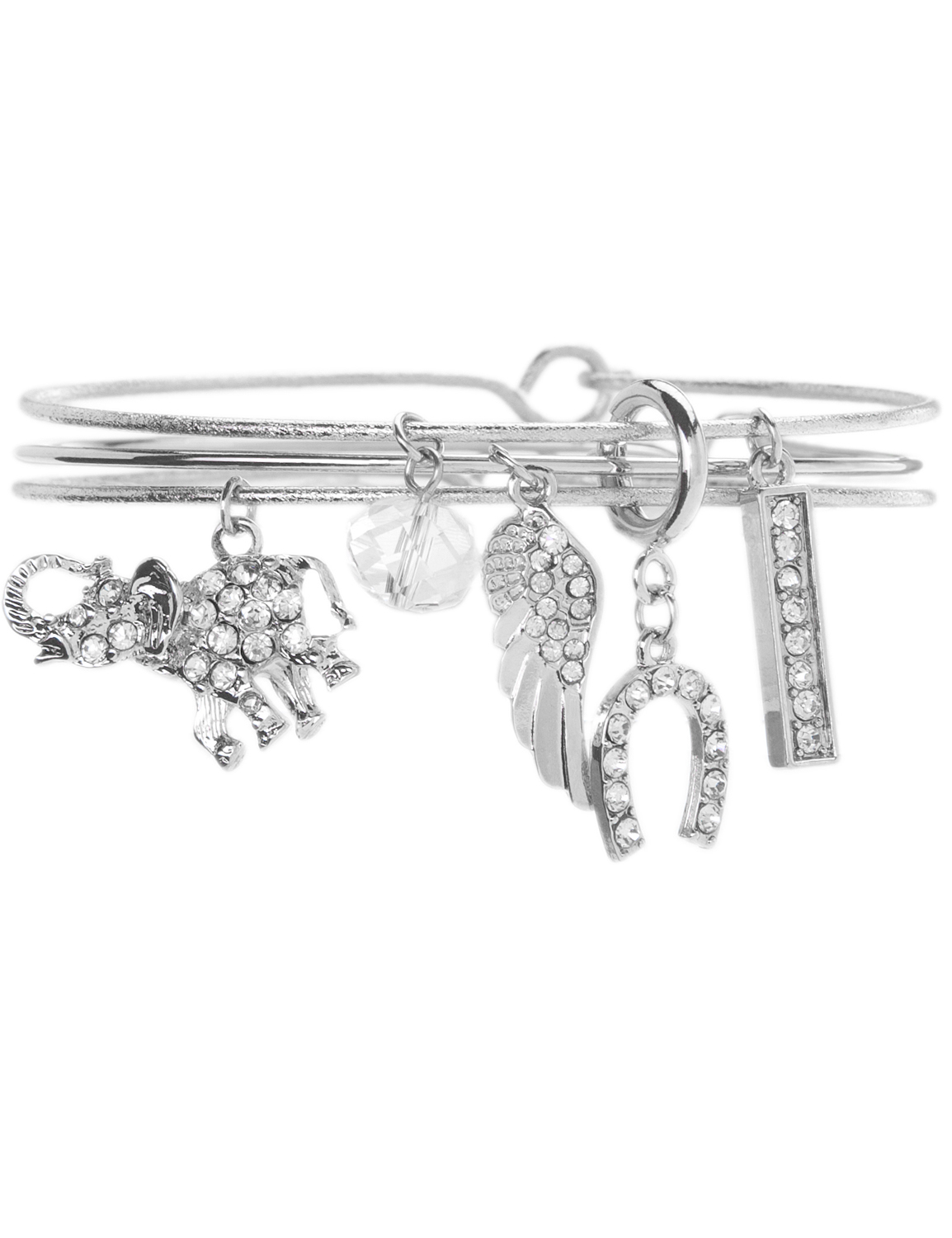 retouched product image of silver charm bangle bracelet with rhinestones