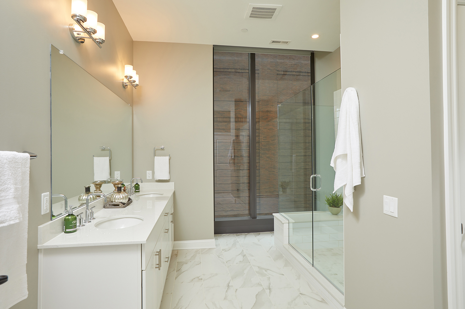 retouched upscale bathroom interior of city apartment
