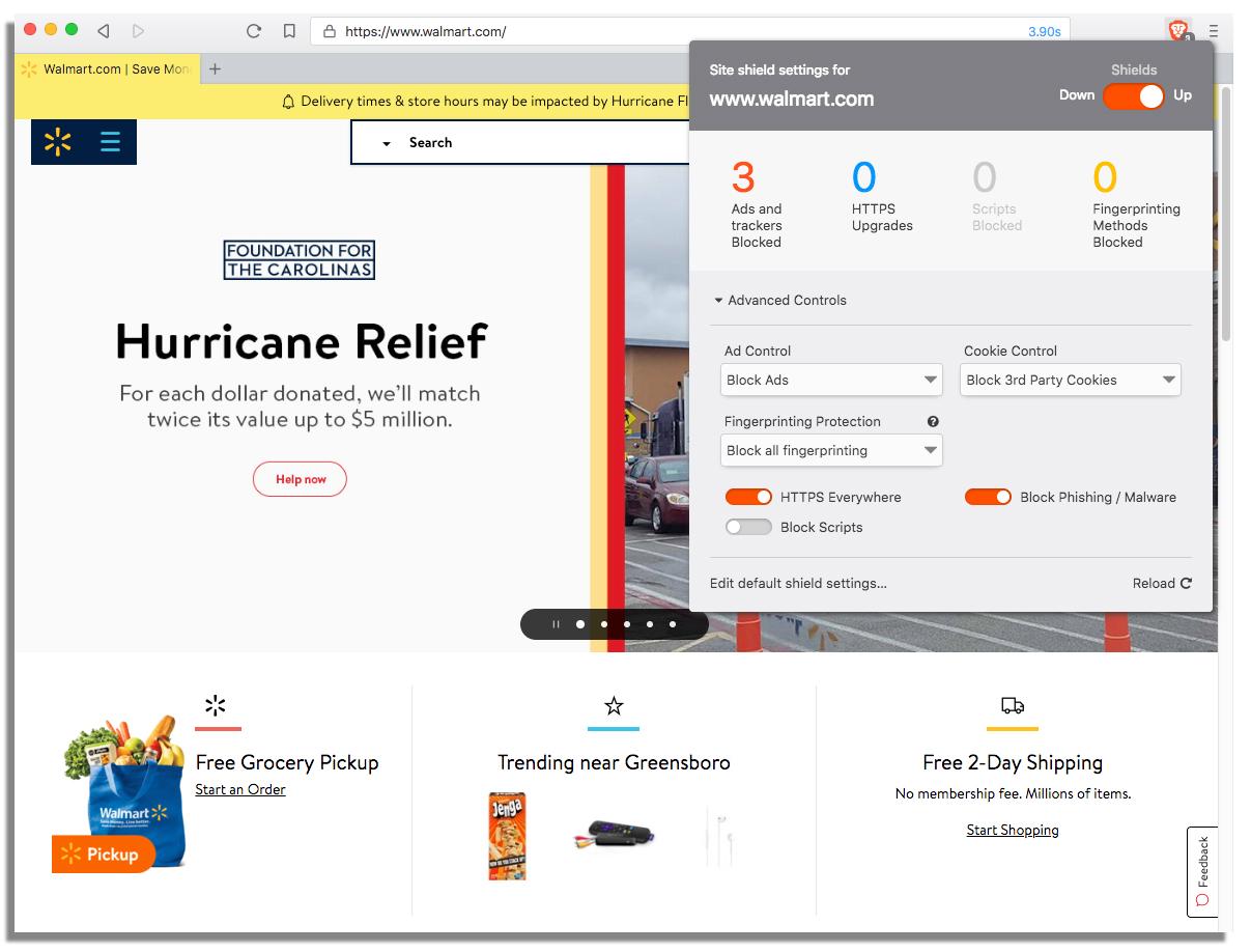 Walmart.com website on Brave browser