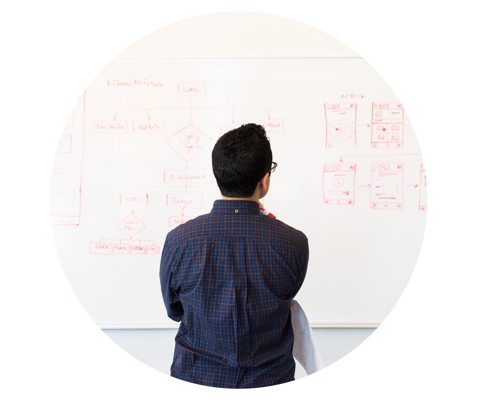 man looking at white board notes image