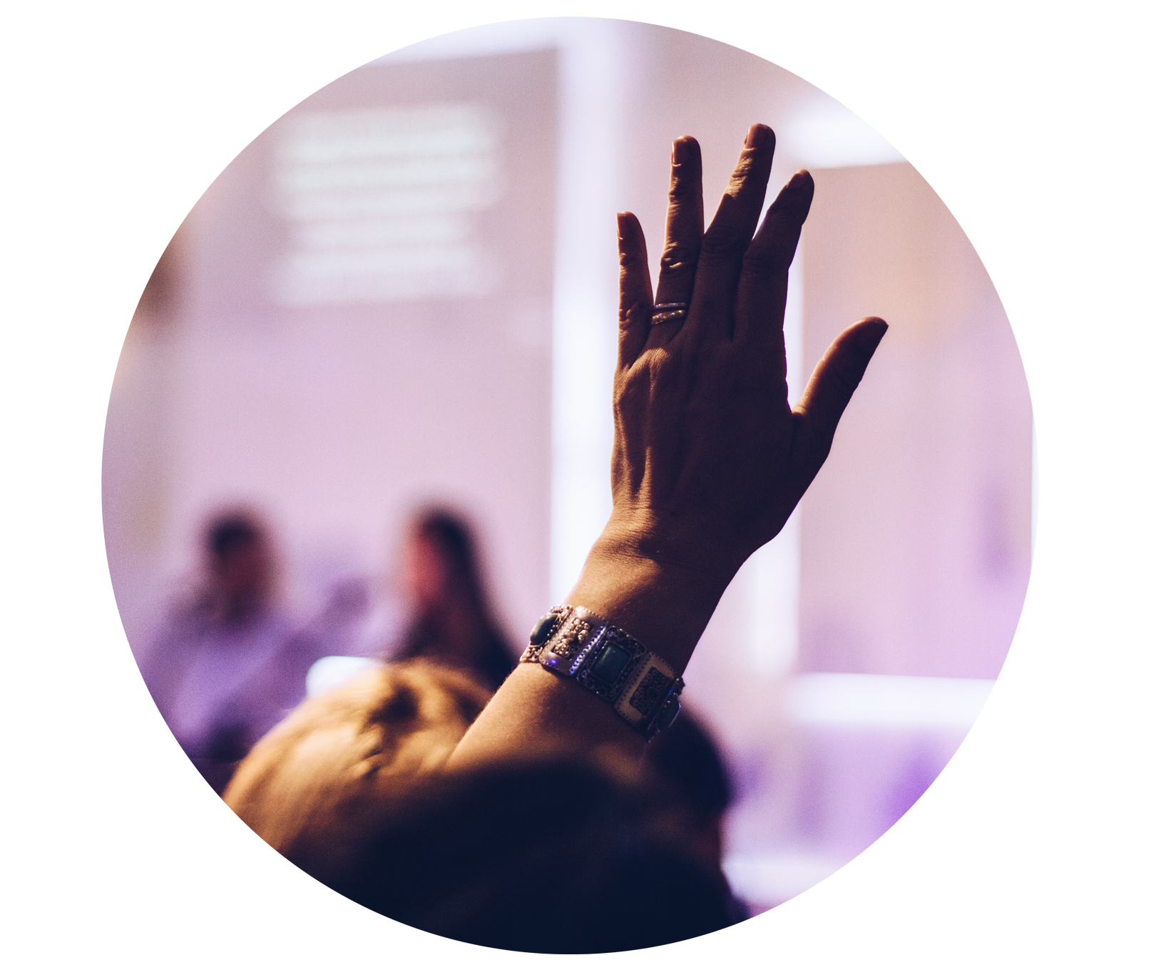 Speaking Engagement Lecture hand up image