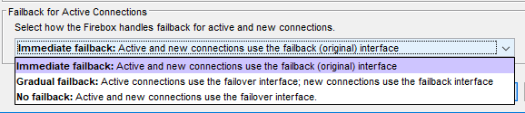 Failback for Active Connections screenshot