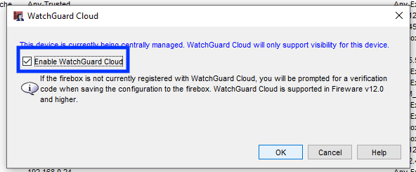 Enable WatchGuard Cloud check box