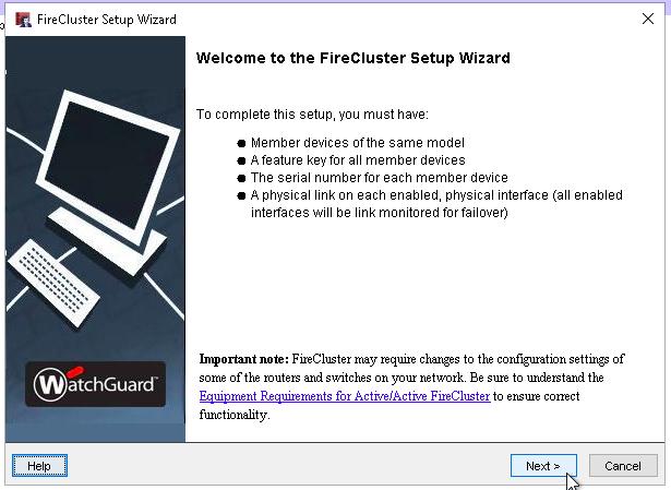 WatchGuard FireCluster Setup Wizard screen shot