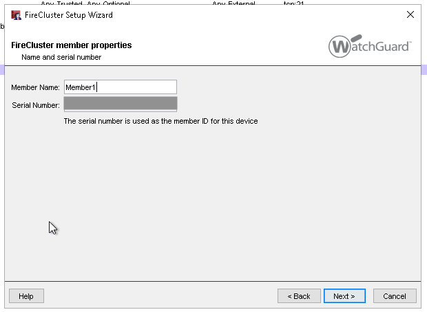 WatchGuard FireCluster member name and serial number