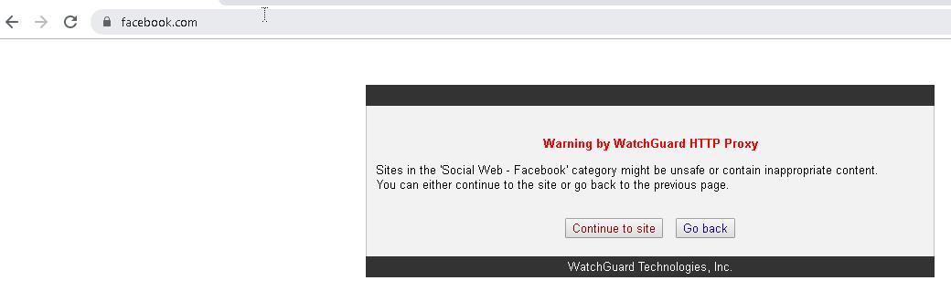 WebBlocker Warn Action screen shot