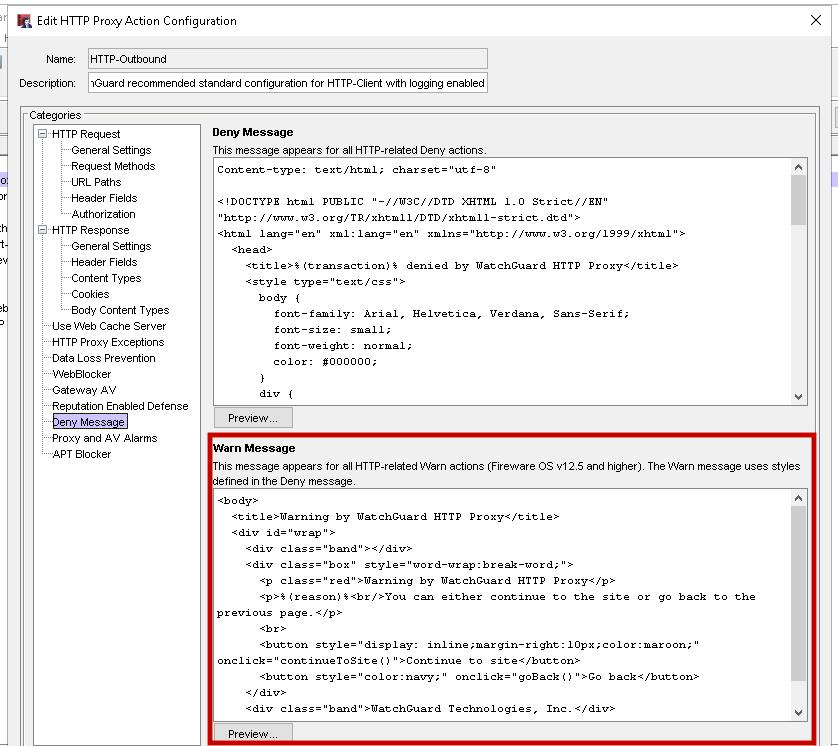 WatchGuard Edit HTTP Proxy Action Configuration screen shot