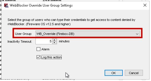 WatchGuard WebBlocker Override Group Settings screen shot