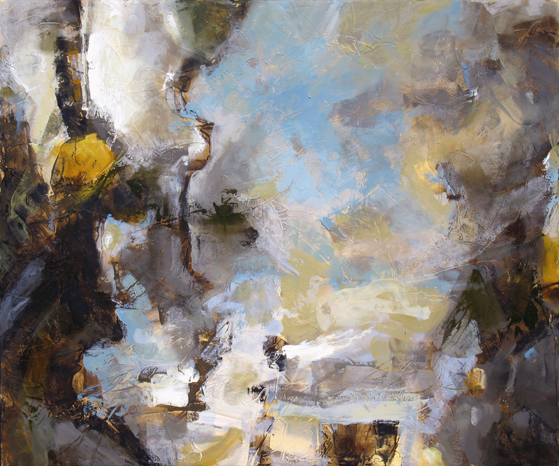 """""""Mining For Fables"""" 60 x 72 in. — oil & mixed media"""
