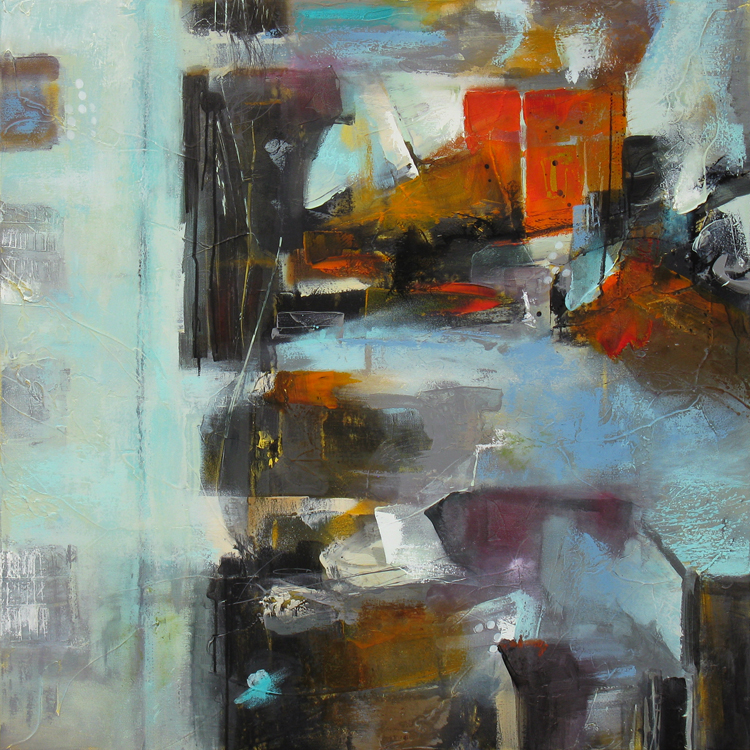 """""""Articulated Elements III"""" 40 x 40 in. — oil & mixed media"""