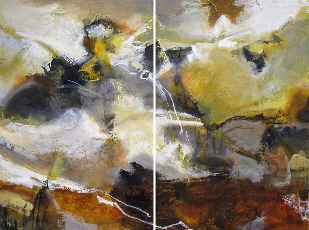 """""""Throwing Divinity"""" 60 x 80 in. (diptych) — oil & mixed media"""