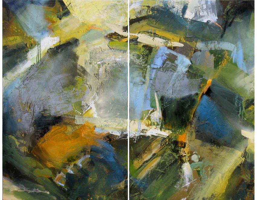 """""""Regeneration"""" 48 x 60 in. — oil & mixed media"""