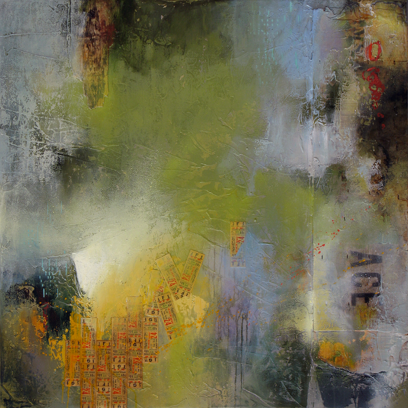 """""""Hybrid No. 1"""" 40 x 40 in. — oil, collage, & mixed media"""