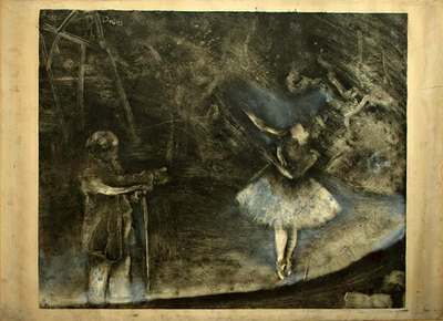 Degas' first monotype print, credited in collaboration with Vicomte Lepic who taught this process to Degas. You can see him beginning to incorporate color with pastel over the print.  Edgar Degas and Vicomte Lepic  The Ballet Master,1874   National Gallery of Art, Washington, Rosenwald Collection    image credit