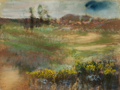 Fully rendered landscape, pastel over monotype print  Edgar Degas   Landscape with Smokestacks  , 1890   The Art Institute of Chicago, Chicago, IL    image credit